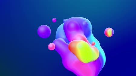 esplêndido : abstract 3d background with beautiful rainbow colors gradient on wax bubbles metaball, spheres fly in air with inner glow, merge like drops of melt wax.
