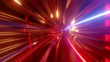 illusion d optique : 4k looped abstract high-tech tunnel with neon lights, camera flies through tunnel, neon lights flicker. Sci-fi red orange background in the style of cyberpunk or high-tech future. 12