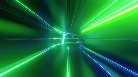 speed tunnel : 4k looped abstract high-tech tunnel with neon lights, camera flies through tunnel, blue green neon lights flicker. Sci-fi background in the style of cyberpunk or high-tech future. Background 10