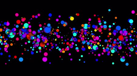 multi colorido : 4k looped seamless abstract background, beautiful multi-colored circles in flat style like paint bubbles or dye droplets in water. Luma matte as alpha channel. Particles increase and decrease 5