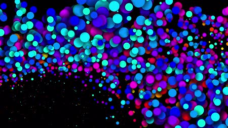 spadek : 4k looped seamless abstract background, beautiful multi-colored circles in flat style like paint bubbles or dye droplets in water. Luma matte as alpha channel. Particles increase and decrease 9 Wideo