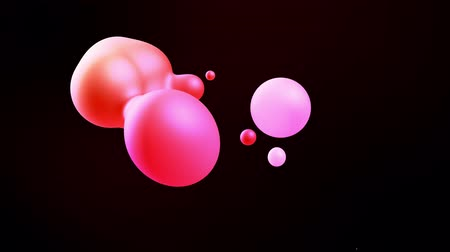 paint ball : Smooth animation of bubbles, metaball with inner red glow. 3d abstract background with droplets of molten red wax like lava lamp. Seamless loop in 4k.