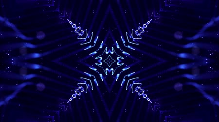 equalizador : 4k looped sci-fi 3d background with light effects. Glow blue particles form lines, surfaces, complex symmetrical structures like in kaleidoscope. Abstract theme of microworld or nanotechnology 7