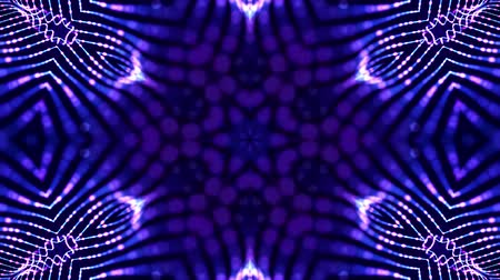 retorcido : 4k looped sci-fi 3d background with glow blue particles form lines, surfaces, complex symmetrical structures like star in kaleidoscope. Abstract theme of microworld or nanotechnology 28