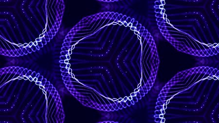 size : Abstract theme of microworld of nanotechnology. 4k looped sci-fi 3d background with glow blue particles form lines, surfaces, complex symmetrical structures like in kaleidoscope. 13