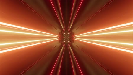 radiante : Sci-fi tunnel transformer with neon lights. 4k looped abstract high-tech tunnel. Camera flies through tunnel. Background in the style of cyberpunk or high-tech future. Red orange 1