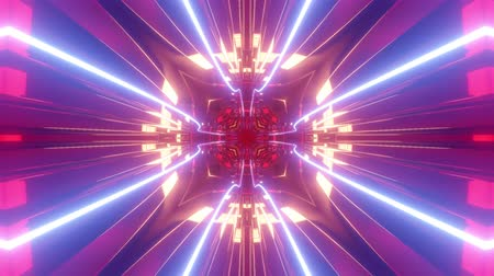 mystik : Sci-fi tunnel transformer with blue purple neon lights. 4k looped abstract high-tech tunnel. Camera flies through changing tunnel. Background in the style of cyberpunk or high-tech future. 2