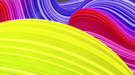 deformação : Beautiful abstract background of waves on surface, rainbow color gradients, extruded lines as striped fabric surface with folds or waves on liquid. 4k loop. Glow lines. 9
