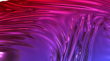 deformação : Animated metalic red blue gradient in 4k. 3D render of wavy cloth surface that forms ripples like in liquid metal surface or folds in tissue. Foil forms folds in slow motion. 32 Stock Footage