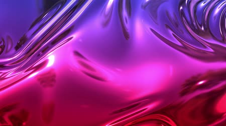 cıva : Animated metalic red blue gradient in 4k. 3D render of wavy cloth surface that forms ripples like in liquid metal surface or folds in tissue. Foil forms folds in slow motion. 26 Stok Video