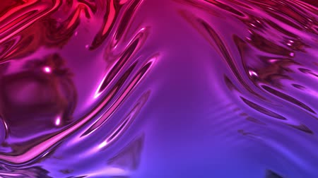 cıva : Animated metalic red blue gradient in 4k. 3D render of wavy cloth surface that forms ripples like in liquid metal surface or folds in tissue. Foil forms folds in slow motion. 44 Stok Video