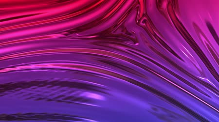 tecido : Animated metalic red blue gradient in 4k. 3D render of wavy cloth surface that forms ripples like in liquid metal surface or folds in tissue. Foil forms folds in slow motion. 58