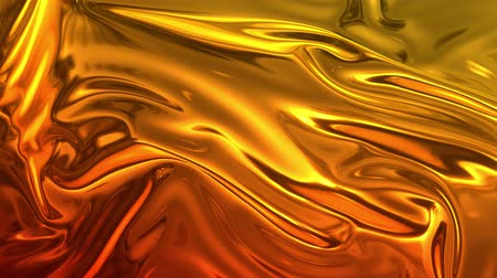 szövetek : Animated metalic gradient in 4k. 3D render of wavy cloth surface that forms ripples like in liquid metal surface or folds in tissue. Red yellow gradient of foil forms folds in slow motion. 14