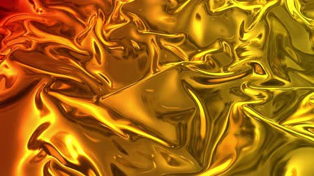deformação : Animated metalic gradient in 4k. 3D render of wavy cloth surface that forms ripples like in liquid metal surface or folds in tissue. Red yellow gradient of foil forms folds in slow motion. 26