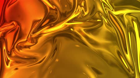 abstract animated : Animated metalic gradient in 4k. 3D render of wavy cloth surface that forms ripples like in liquid metal surface or folds in tissue. Red yellow gradient of foil forms folds in slow motion. 45 Stock Footage