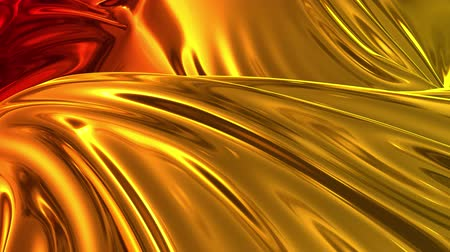 szövetek : Animated metalic gradient in 4k. 3D render of wavy cloth surface that forms ripples like in liquid metal surface or folds in tissue. Red yellow gradient of foil forms folds in slow motion. 52