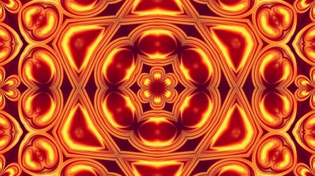 simetria : 4k seamless loop abstract background with pattern ornament in form of red-yellow flower made of flowing gradients. Smooth animation. 5