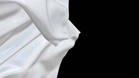 pulling off : 3d render of tearing off the screen a white fabric with luma matte as an alpha channel for a festive appearance. 4k Stock Footage