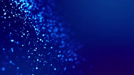 shimmer : Magic blue glowing particles flow in viscous liquid and bright glisten. Science fiction. 4k 3d sci-fi background with glittering particles, depth of field and bokeh. Luma matte as alpha channel. 122