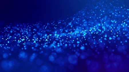 ünnepélyes : Magic blue glowing particles flow in viscous liquid and bright glisten. Science fiction. 4k 3d sci-fi background with glittering particles, depth of field and bokeh. Luma matte as alpha channel. 199