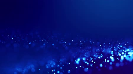 Magic blue glowing particles flow in viscous liquid and bright glisten. Science fiction. 4k 3d sci-fi background with glittering particles, depth of field and bokeh. Luma matte as alpha channel 227
