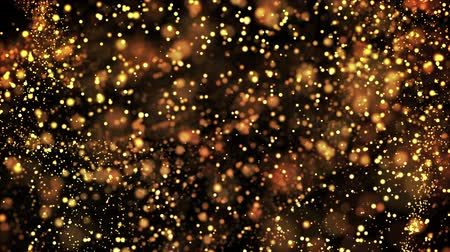 gold glowing particles flow in viscous liquid and bright glisten. Science fiction. 4k 3d sci-fi background with glittering particles, depth of field and bokeh. Luma matte as alpha channel.
