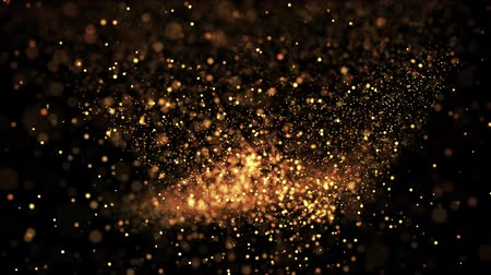abundante : gold glowing particles flow in viscous liquid and bright glisten. Science fiction. 4k 3d sci-fi background with glittering particles, depth of field and bokeh. Luma matte as alpha channel.