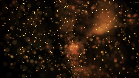 blikat : gold glowing particles flow in viscous liquid and bright glisten. Science fiction. 4k 3d sci-fi background with glittering particles, depth of field and bokeh. Luma matte as alpha channel.