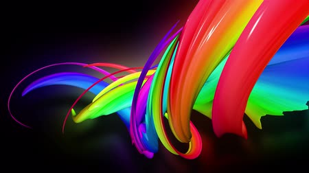 Stream of colored ribbons fly past camera. Flow of twisted rainbow-colored gradient stripes as creative background. Use luma matte as alpha channel 10