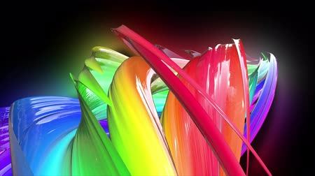 Stream of colored ribbons fly past camera. Flow of twisted rainbow-colored gradient stripes as creative background. Use luma matte as alpha channel 48 Wideo