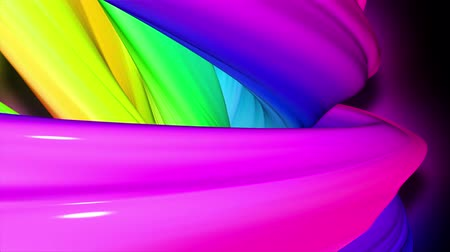 dyskoteka : Stream of colored ribbons fly past camera. Flow of twisted rainbow-colored gradient stripes as creative background. Use luma matte as alpha channel 54
