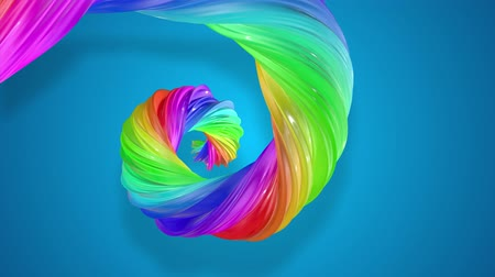 abstract background with rainbow color stripes that moving in a spiral and shiny on blue background in 4k. 3d seamless looped animation. Use luma matte as alpha to cut out rainbow structure. Stok Video