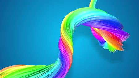 abstract background with rainbow color stripes that moving in a spiral and shiny on blue background in 4k. 3d seamless looped animation. Use luma matte as alpha to cut out rainbow structure. Wideo