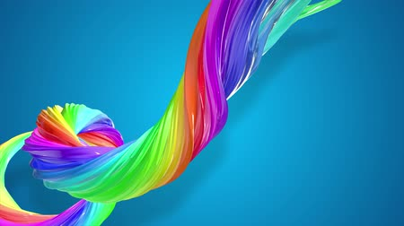 basic shape : abstract background with rainbow color stripes that moving in a spiral and shiny on blue background in 4k. 3d seamless looped animation. Use luma matte as alpha to cut out rainbow structure. Stock Footage