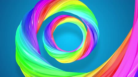 lesbijki : abstract background with rainbow color stripes that moving in a spiral and shiny on blue background in 4k. 3d seamless looped animation. Use luma matte as alpha to cut out rainbow structure. Wideo