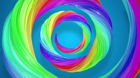 sheen : abstract background with rainbow color stripes that moving in a spiral and shiny on blue background in 4k. 3d seamless looped animation. Use luma matte as alpha chanel to cut out rainbow structure.