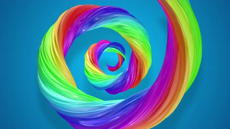 кудри : abstract background with rainbow color stripes that moving in a spiral and shiny on blue background in 4k. 3d seamless looped animation. Use luma matte as alpha chanel to cut out rainbow structure.