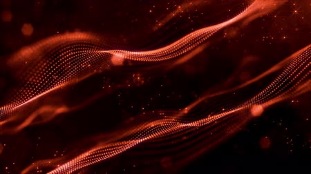 húr : 4k looped sci-fi red background with bokeh and light effects. Glow red color particles form lines, surfaces, string structures as virtual space or hologram for HUD screen.
