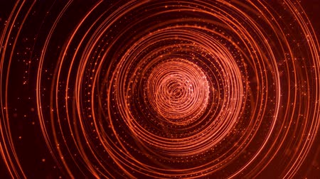 húr : 4k looped sci-fi red background with bokeh and light effects. Glow red color particles form lines, surfaces, string concentric structures as virtual space or hologram for HUD screen.