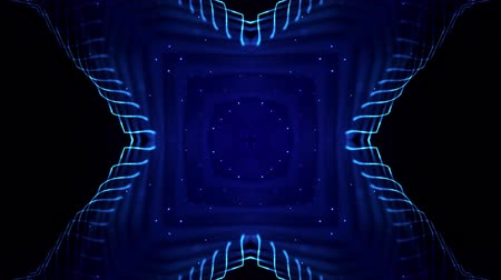 ismétlés : 4k looped sci-fi 3d background with light effects. Glow blue particles form lines, surfaces, complex symmetrical structures like in kaleidoscope. Abstract theme of microworld or nanotechnology 15 Stock mozgókép