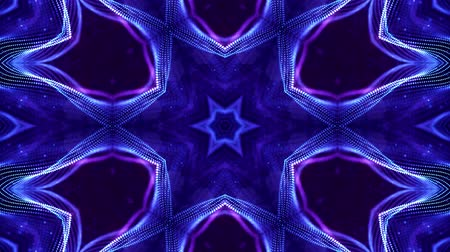 időszakos : 4k looped sci-fi 3d background with glow blue particles form lines, surfaces, complex symmetrical structures like star in kaleidoscope. Abstract theme of microworld or nanotechnology 11