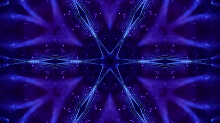 időszakos : 4k looped sci-fi 3d background with glow blue particles form lines, surfaces, complex symmetrical structures like star in kaleidoscope. Abstract theme of microworld or nanotechnology 16