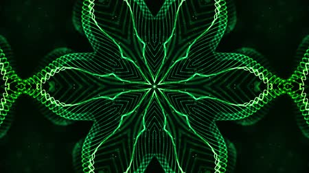 yumuşaklık : 4k looped sci-fi 3d background with glow green particles form lines, surfaces, pattern, kaleidoscope structures. Abstraction symmetrical point structures of microworld in motion. 13 Stok Video