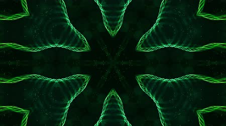shluk : 4k looped sci-fi 3d background with glow green particles form lines, surfaces, pattern, kaleidoscope structures. Abstraction symmetrical point structures of microworld in motion. 21