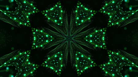 ekolayzer : 4k looped sci-fi 3d background with glow green particles form lines, surfaces, pattern, kaleidoscope structures. Abstraction symmetrical point structures of microworld in motion. 17 Stok Video