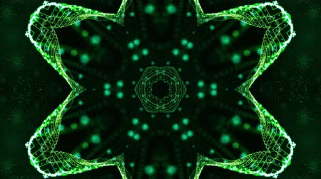 húr : 4k looped sci-fi 3d background with glow green particles form lines, surfaces, pattern, kaleidoscope structures. Abstraction symmetrical point structures of microworld in motion. 18 Stock mozgókép