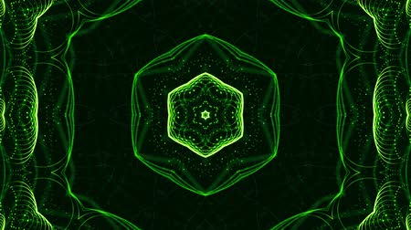 opener : 4k looped sci-fi 3d background with glow green particles form lines, surfaces, pattern, kaleidoscope structures. Abstraction symmetrical point structures of microworld in motion. 3