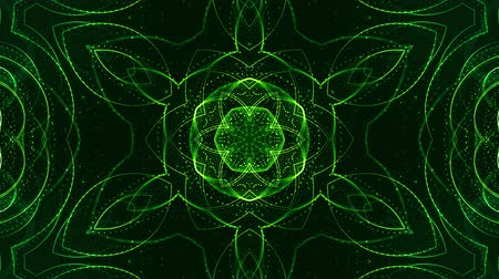 időszakos : 4k looped sci-fi 3d background with glow green particles form lines, surfaces, pattern, kaleidoscope structures. Abstraction symmetrical point structures of microworld in motion. 2 Stock mozgókép