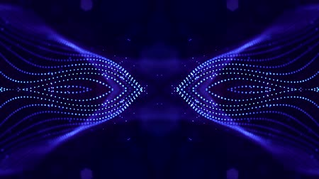 húr : 4k looped sci-fi 3d abstract background. Glow blue particles form lines, symmetrical structures like in microworld or cosmic space. For holiday presentations, ceremonies as vj loop motion design 6 Stock mozgókép