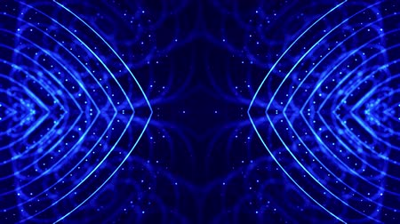húr : 4k looped sci-fi 3d abstract background. Glow blue particles form lines, symmetrical structures like in microworld or cosmic space. For holiday presentations, ceremonies as vj loop motion design 19